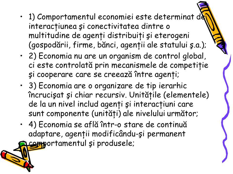 1) Comportamentul economiei este determinat de interacţiunea şi conectivitatea dintre o multitudine de agenţi distribuiţi şi eterogeni (gospodării, firme, bănci, agenţii ale statului ş.a.); 2) Economia nu are un organism de control global, ci este controlată prin mecanismele de competiţie şi cooperare care se creează între agenţi; 3) Economia are o organizare de tip ierarhic încrucişat şi chiar recursiv.