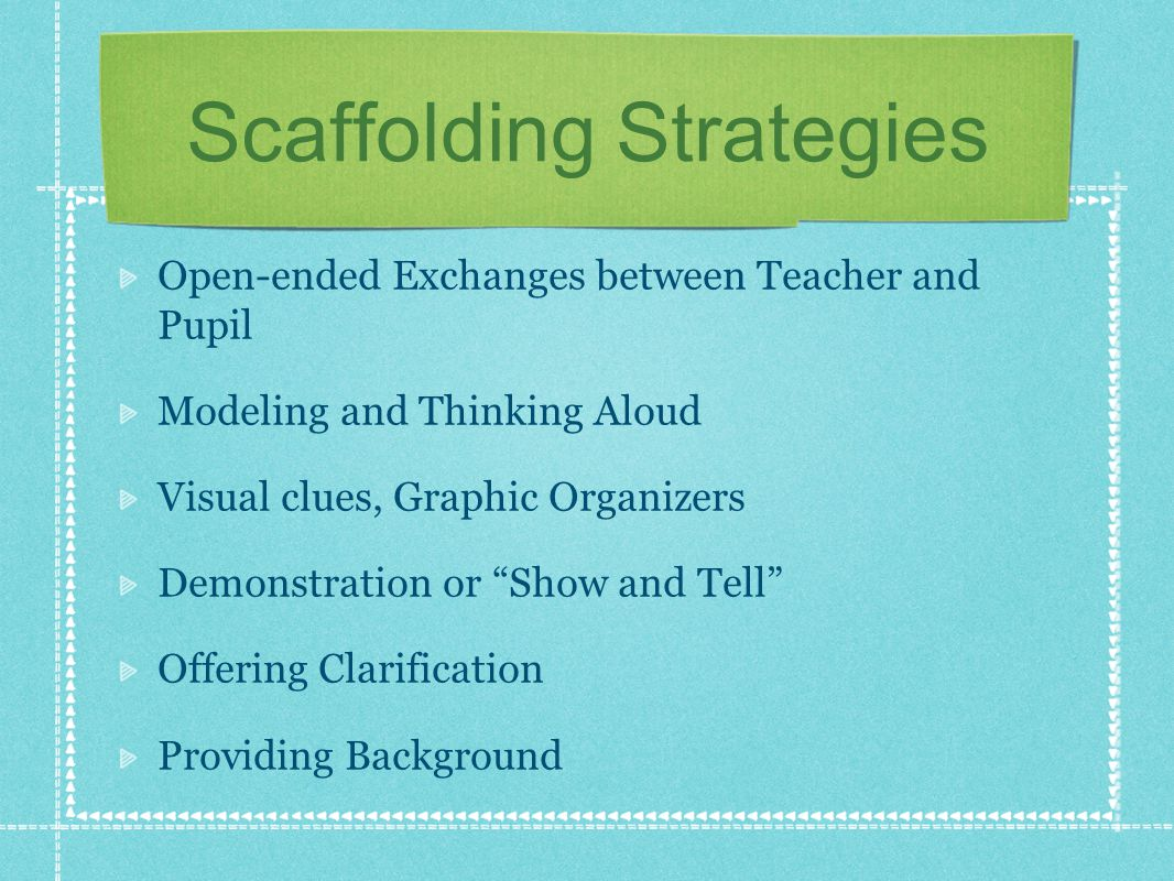 Scaffolding Strategies Open-ended Exchanges between Teacher and Pupil Modeling and Thinking Aloud Visual clues, Graphic Organizers Demonstration or Show and Tell Offering Clarification Providing Background
