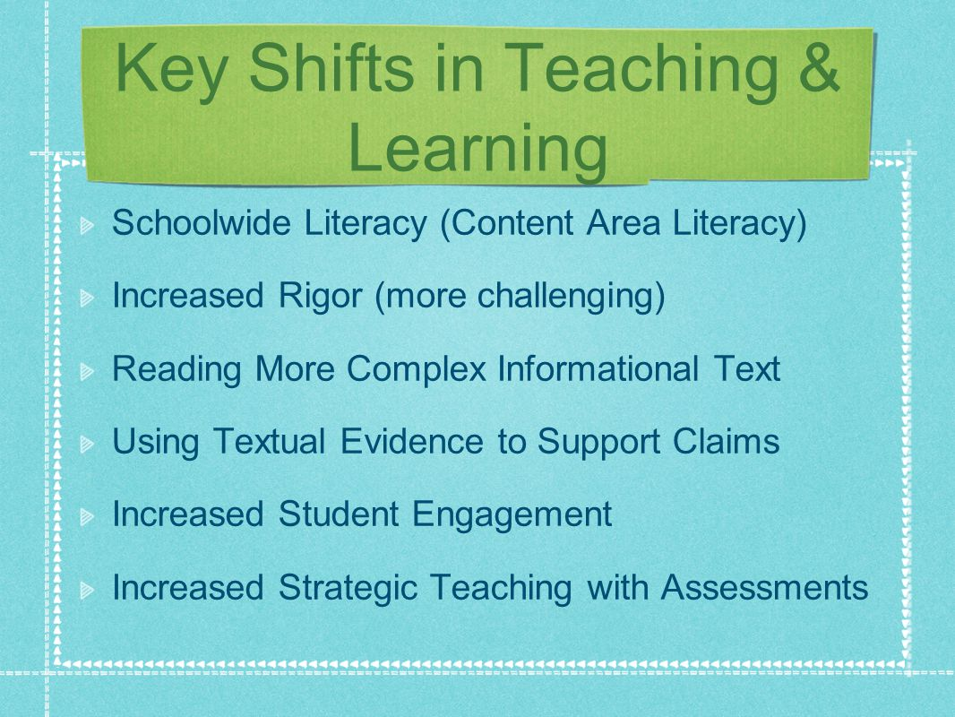 Key Shifts in Teaching & Learning Schoolwide Literacy (Content Area Literacy) Increased Rigor (more challenging) Reading More Complex Informational Text Using Textual Evidence to Support Claims Increased Student Engagement Increased Strategic Teaching with Assessments