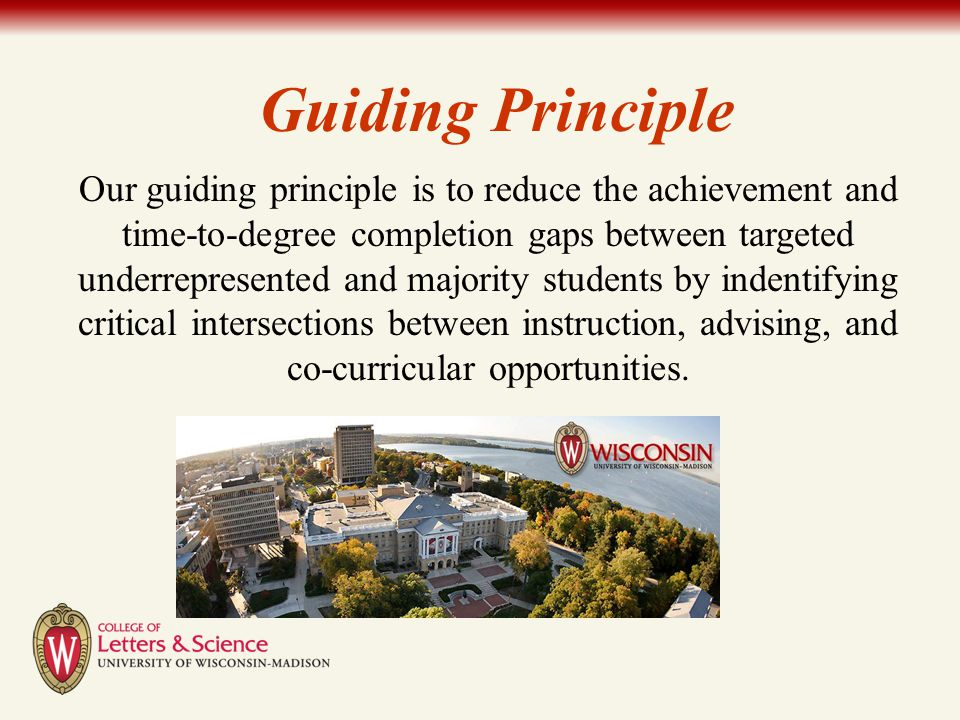 Our guiding principle is to reduce the achievement and time-to-degree completion gaps between targeted underrepresented and majority students by inden
