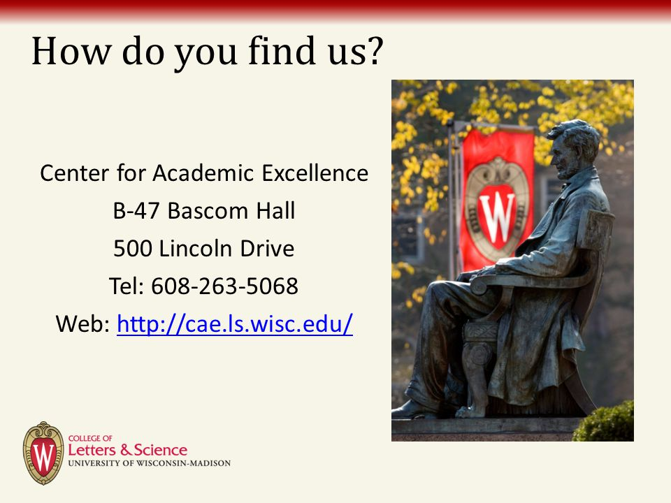 How do you find us? Center for Academic Excellence B-47 Bascom Hall 500 Lincoln Drive Tel: 608-263-5068 Web: http://cae.ls.wisc.edu/http://cae.ls.wisc