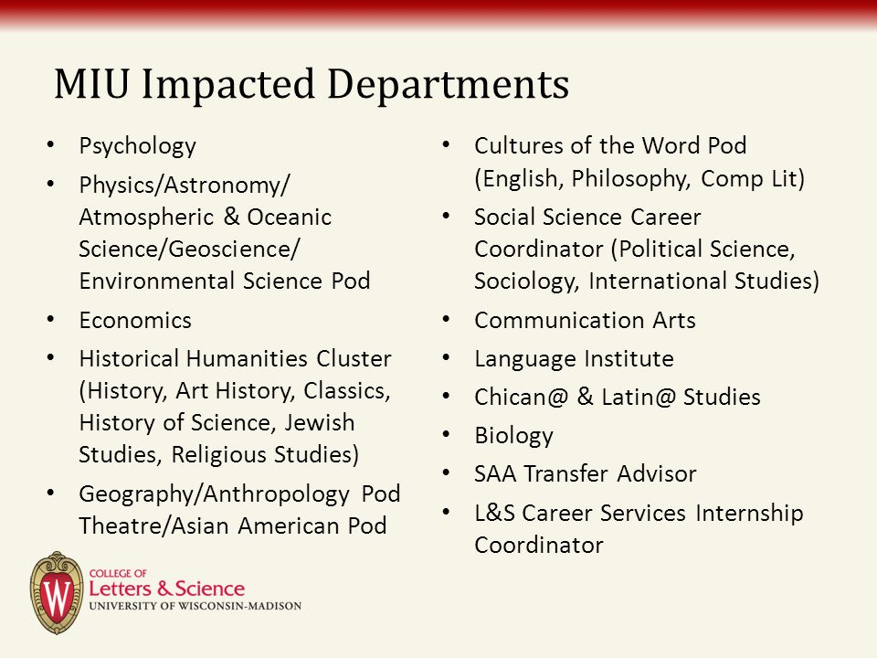 MIU Impacted Departments Psychology Physics/Astronomy/ Atmospheric & Oceanic Science/Geoscience/ Environmental Science Pod Economics Historical Humani