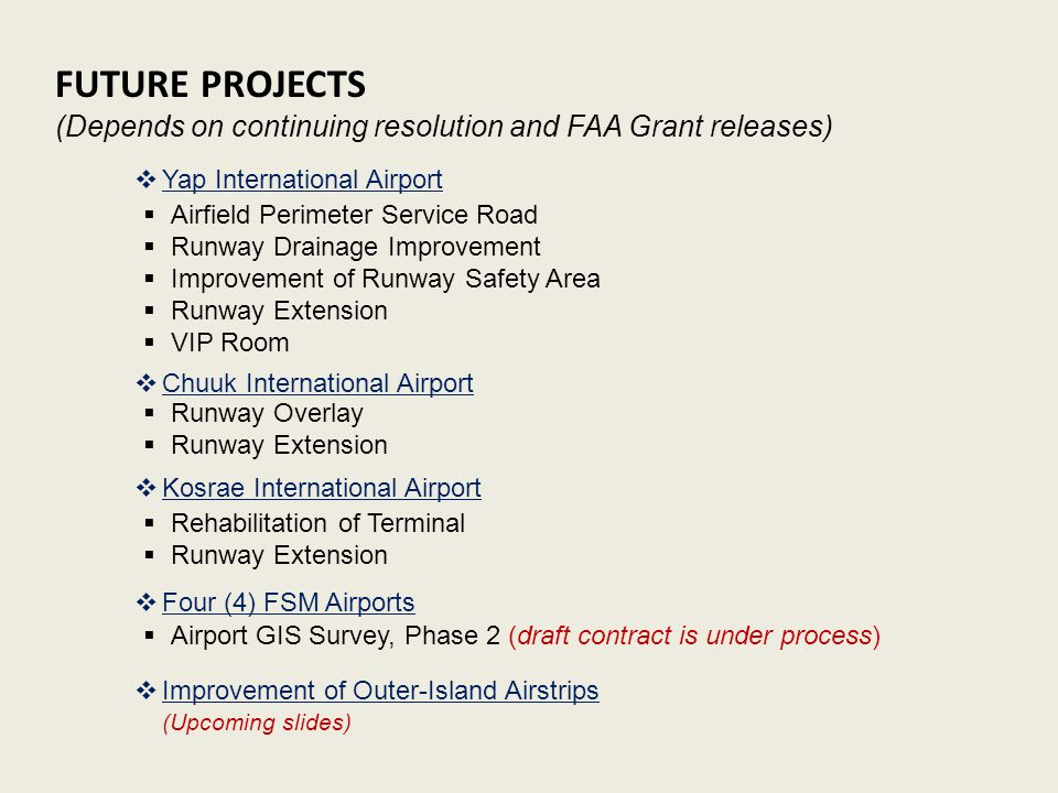 FUTURE PROJECTS (Depends on continuing resolution and FAA Grant releases)  Airfield Perimeter Service Road  Runway Drainage Improvement  Improvement of Runway Safety Area  Runway Extension  VIP Room  Yap International Airport  Runway Overlay  Runway Extension  Chuuk International Airport  Kosrae International Airport  Rehabilitation of Terminal  Runway Extension  Four (4) FSM Airports  Airport GIS Survey, Phase 2 (draft contract is under process)  Improvement of Outer-Island Airstrips (Upcoming slides)