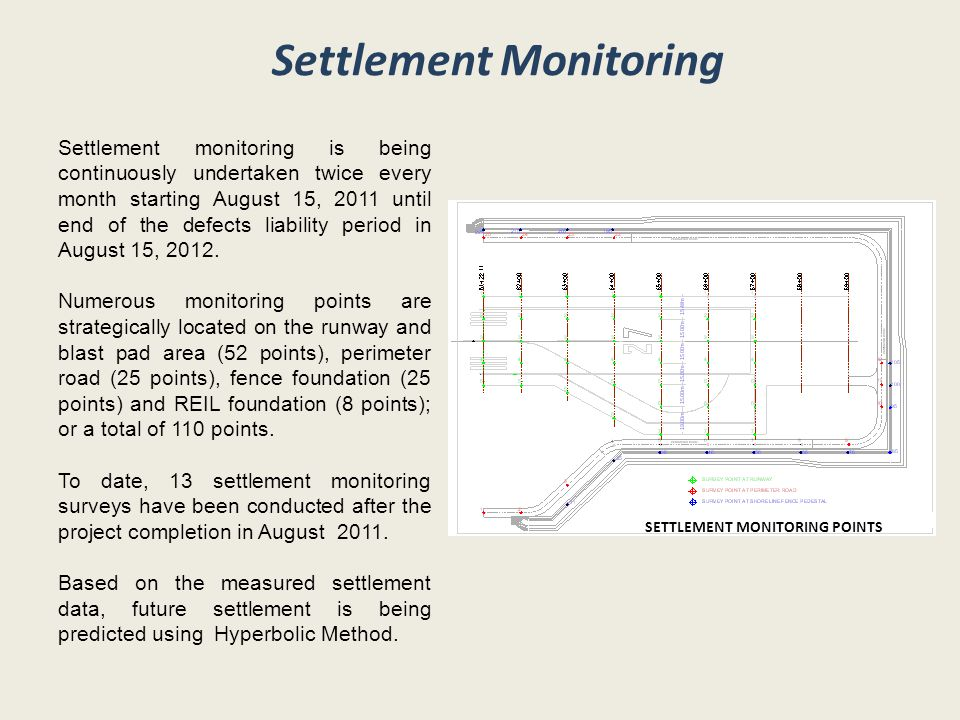 Settlement Monitoring Settlement monitoring is being continuously undertaken twice every month starting August 15, 2011 until end of the defects liability period in August 15, 2012.