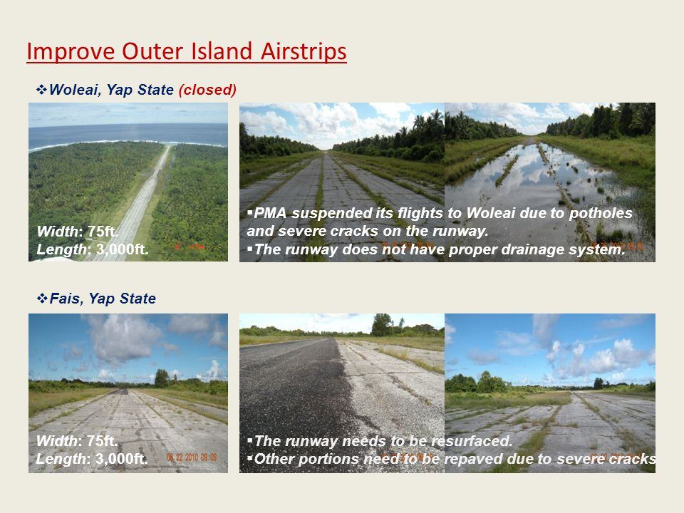 Improve Outer Island Airstrips Width: 75ft.Length: 3,000ft.