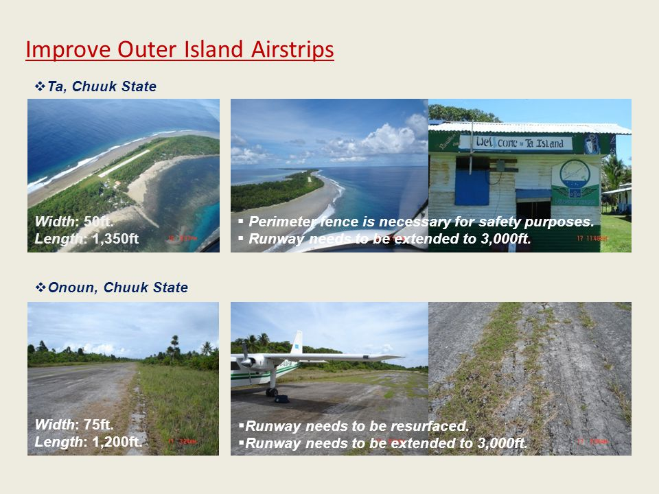 Width: 50ft. Length: 1,350ft  Perimeter fence is necessary for safety purposes.  Runway needs to be extended to 3,000ft. Improve Outer Island Airstr
