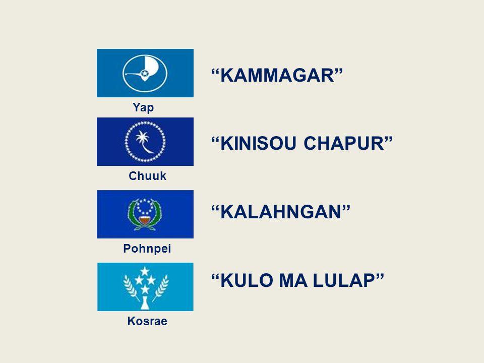 "Yap Kosrae Pohnpei Chuuk ""KALAHNGAN"" ""KULO MA LULAP"" ""KINISOU CHAPUR"" ""KAMMAGAR"""