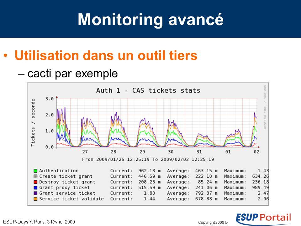 Copyright 2008 © ESUP-Days 7, Paris, 3 février 2009 Monitoring avancé Utilisation dans un outil tiers –cacti par exemple