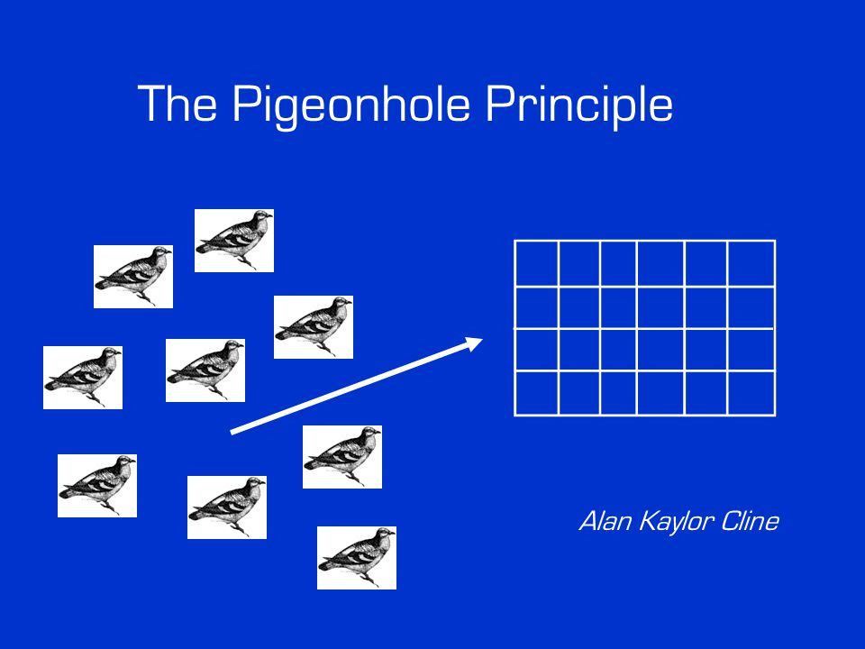 The Pigeonhole Principle Statement Children's Version: If k > n, you can't stuff k pigeons in n holes without having at least two pigeons in the same hole.