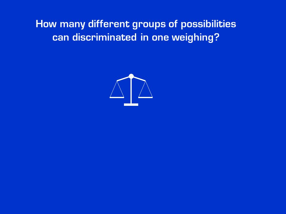 How many different groups of possibilities can discriminated in one weighing?