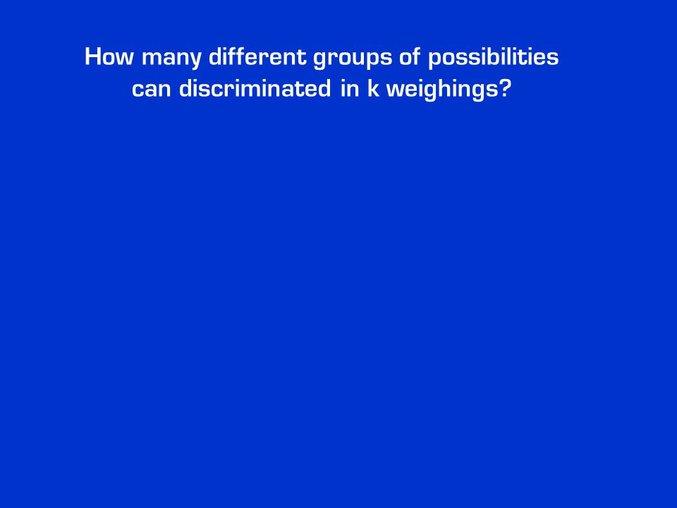 How many different groups of possibilities can discriminated in k weighings?
