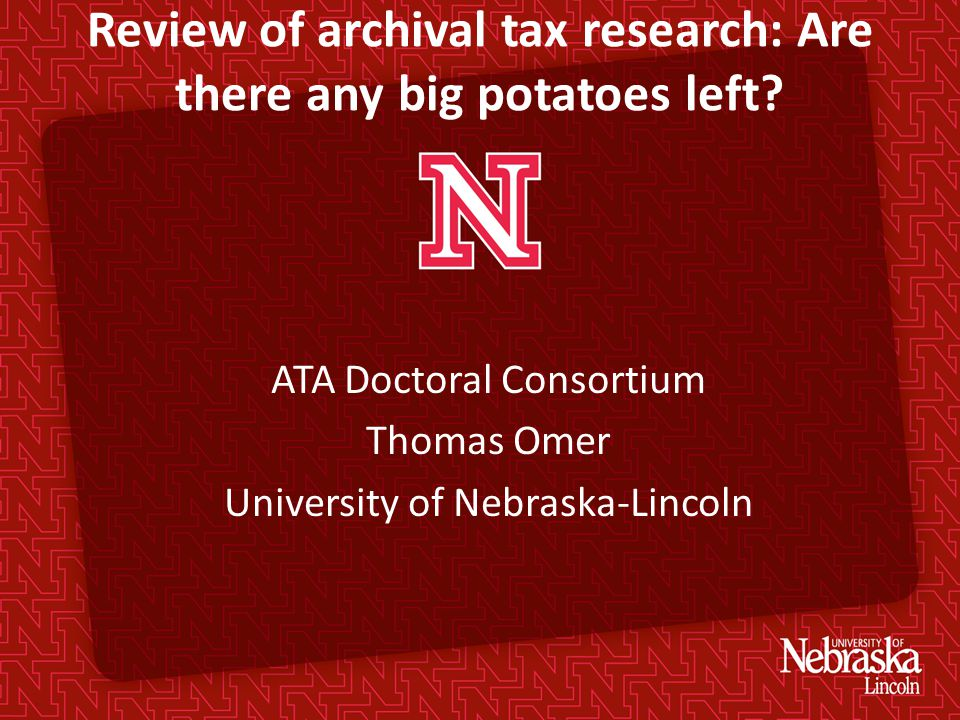 Review of archival tax research: Are there any big potatoes left.