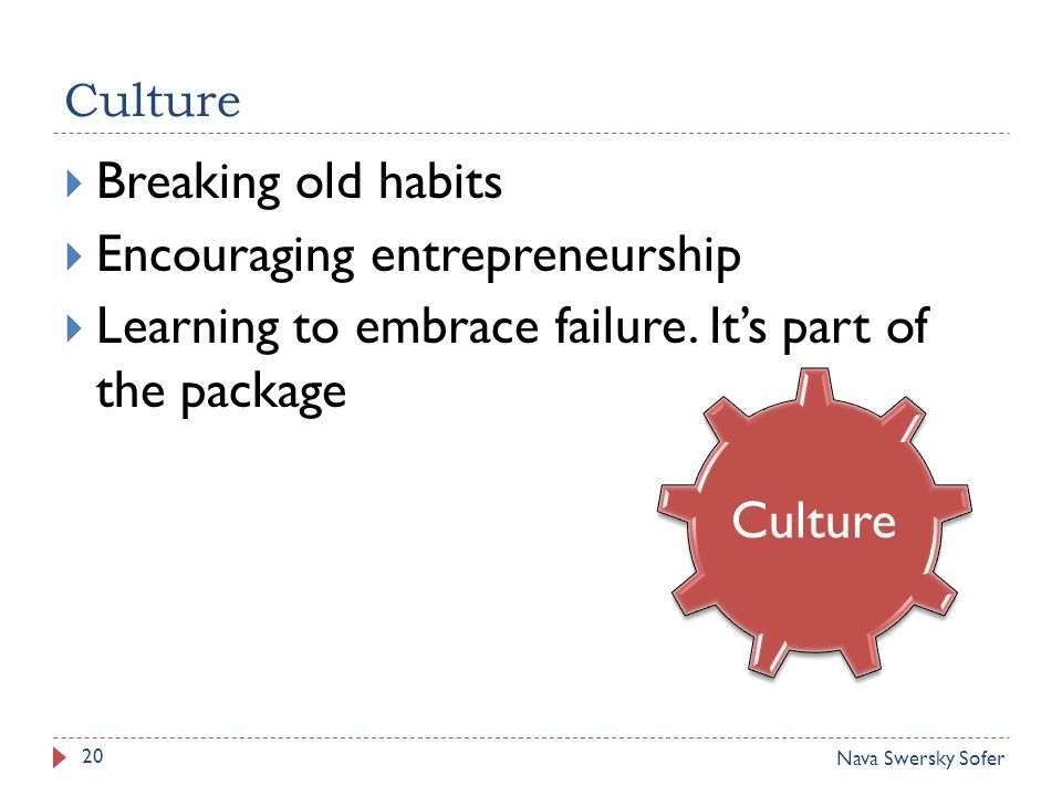 Culture 20  Breaking old habits  Encouraging entrepreneurship  Learning to embrace failure.