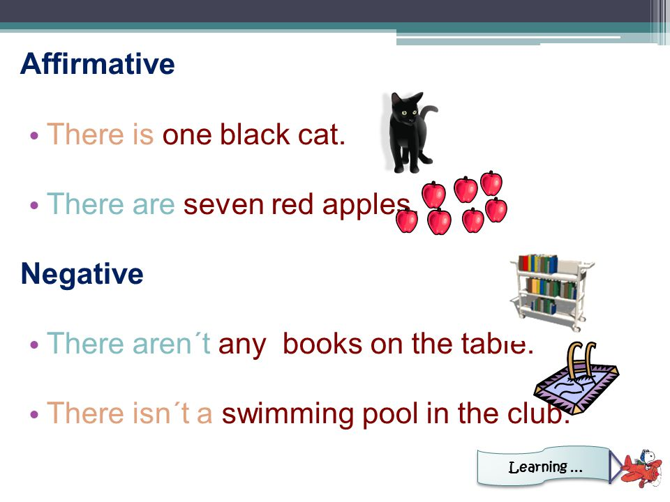Affirmative There is one black cat. There are seven red apples.