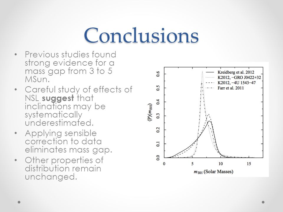 Conclusions Previous studies found strong evidence for a mass gap from 3 to 5 MSun.