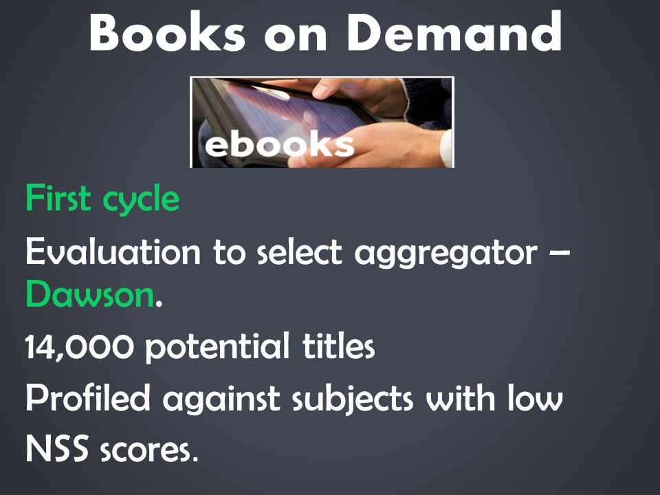 Books on Demand First cycle Evaluation to select aggregator – Dawson.