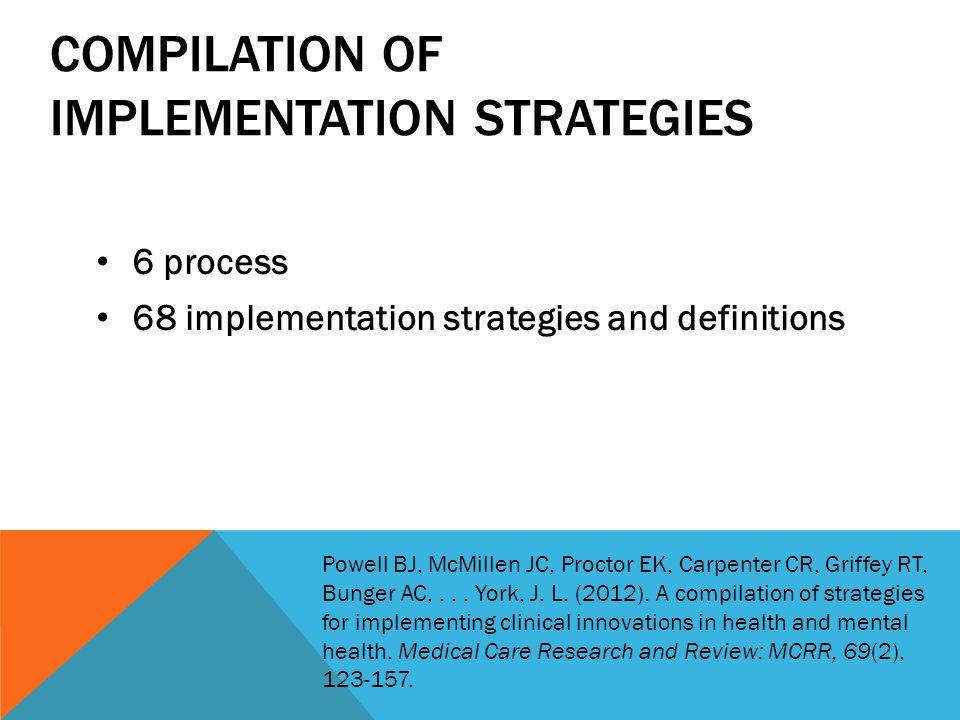 COMPILATION OF IMPLEMENTATION STRATEGIES 6 process 68 implementation strategies and definitions Powell BJ, McMillen JC, Proctor EK, Carpenter CR, Griffey RT, Bunger AC,...