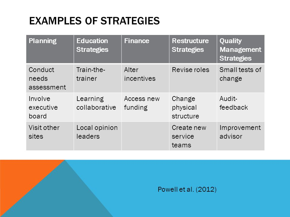 EXAMPLES OF STRATEGIES PlanningEducation Strategies FinanceRestructure Strategies Quality Management Strategies Conduct needs assessment Train-the- tr
