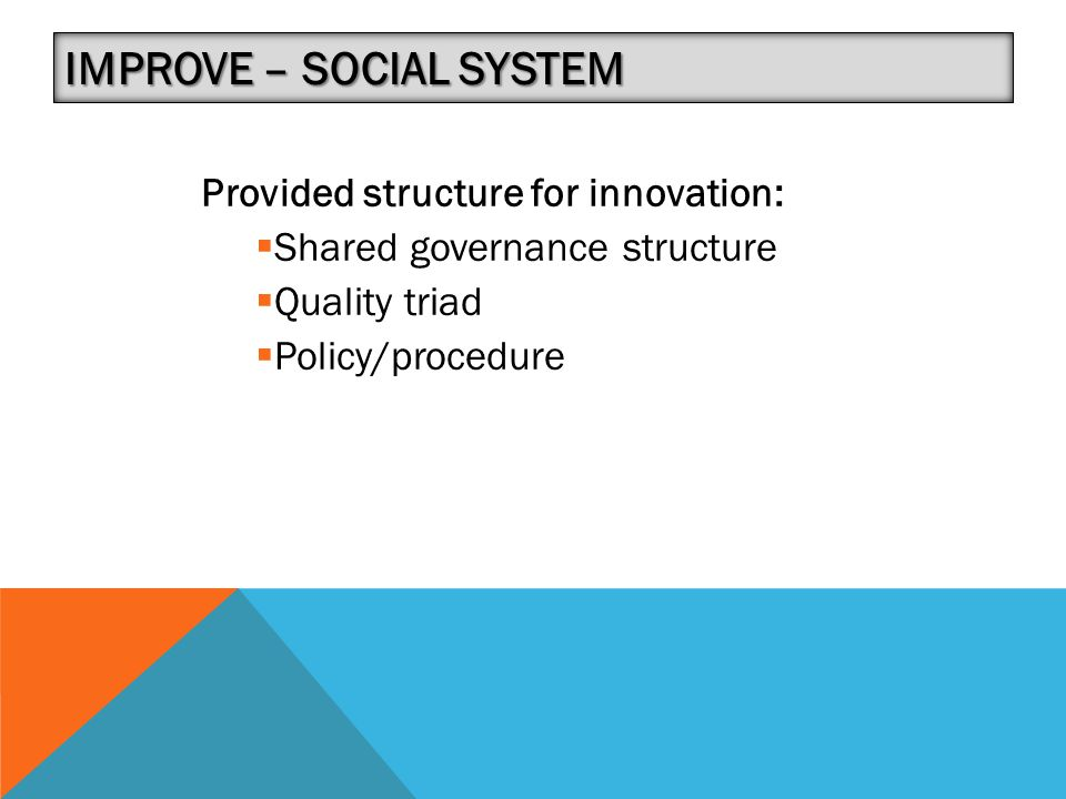 IMPROVE – SOCIAL SYSTEM Provided structure for innovation:  Shared governance structure  Quality triad  Policy/procedure