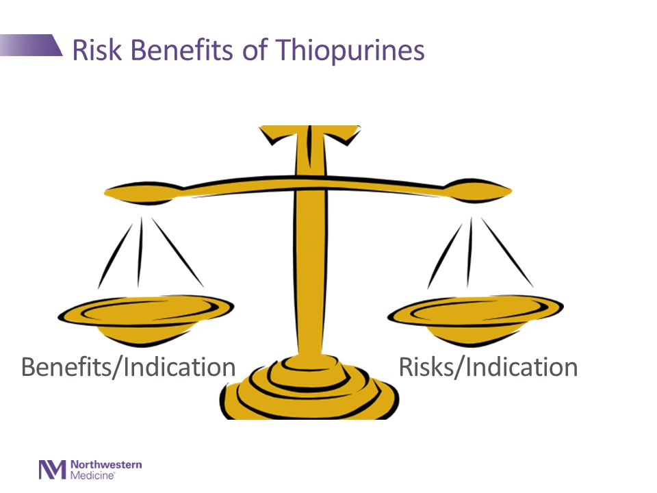 Risk Benefits of Thiopurines Benefits/Indication Risks/Indication