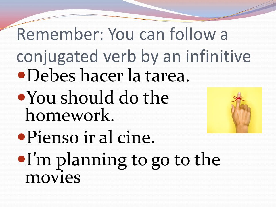 If a verb is normally followed by the subjunctive, but DOESN'T have a que you must use the infinitive Quiero salir contigo esta noche.