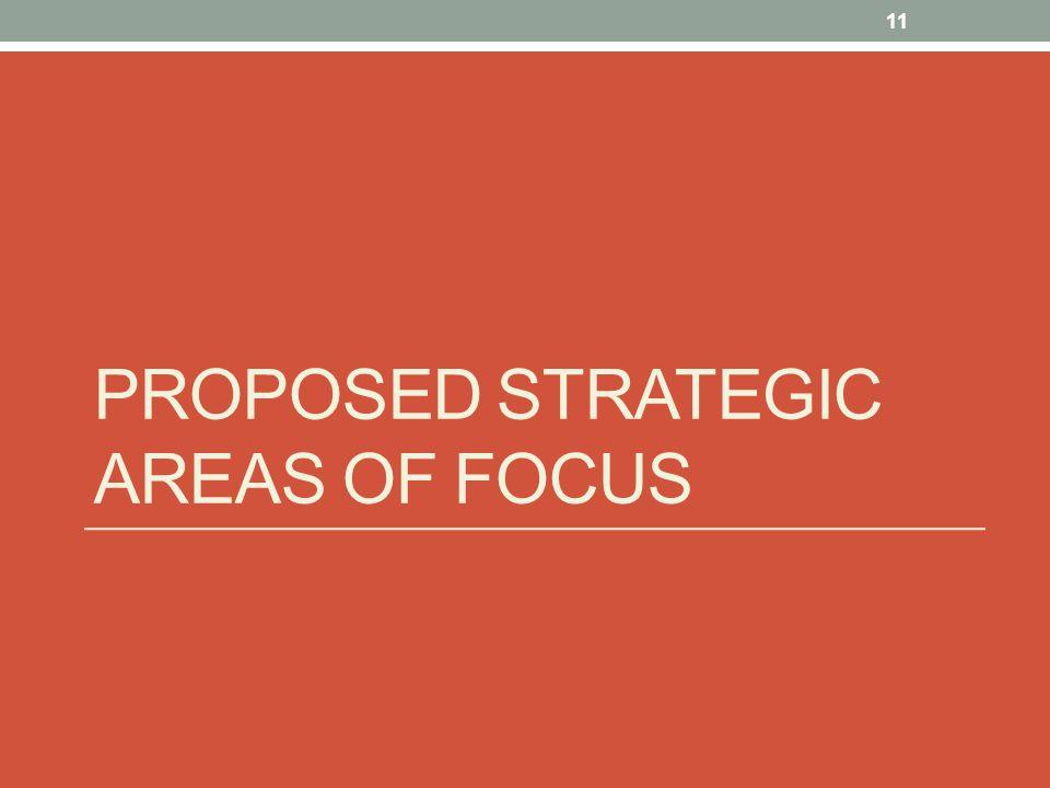 PROPOSED STRATEGIC AREAS OF FOCUS 11
