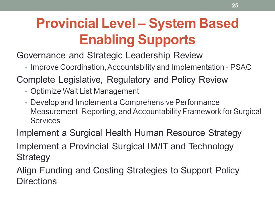 Provincial Level – System Based Enabling Supports Governance and Strategic Leadership Review Improve Coordination, Accountability and Implementation -