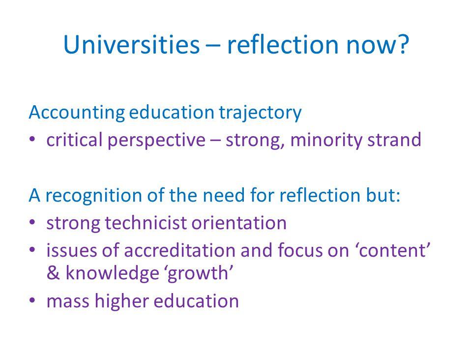 General education/practice trajectory Towards a 'reflective practitioner' (Schön) etc.