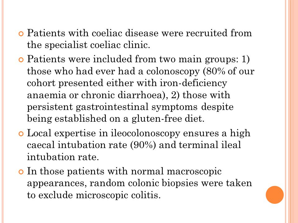 Patients with coeliac disease were recruited from the specialist coeliac clinic.