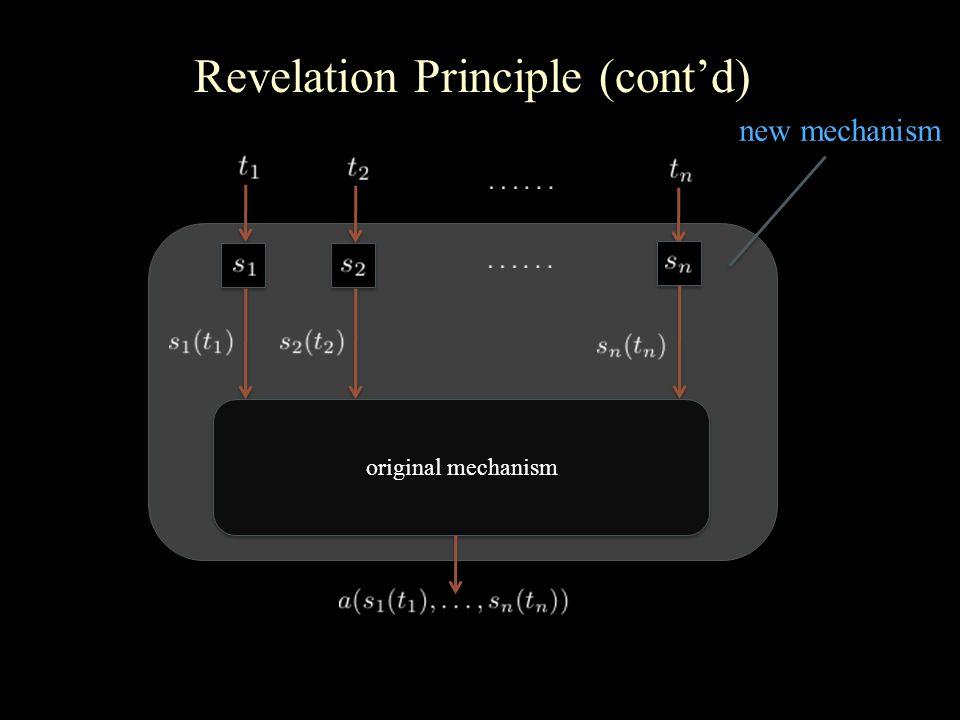 Revelation Principle (cont'd) original mechanism new mechanism