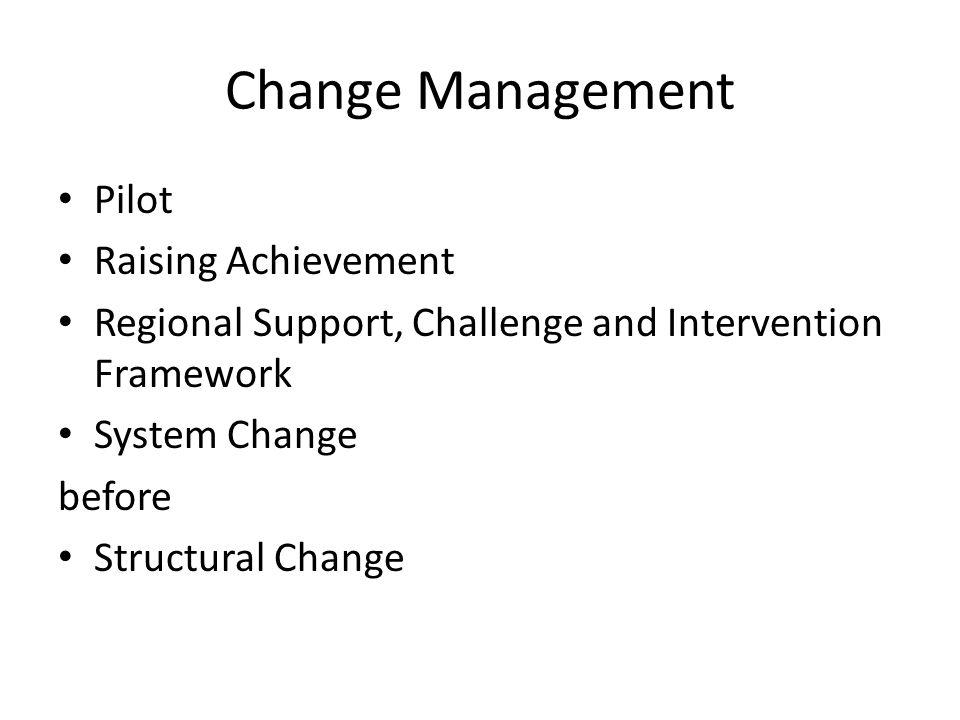Change Management Pilot Raising Achievement Regional Support, Challenge and Intervention Framework System Change before Structural Change