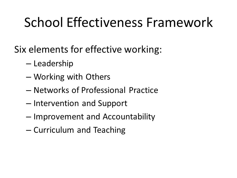 School Effectiveness Framework Six elements for effective working: – Leadership – Working with Others – Networks of Professional Practice – Interventi