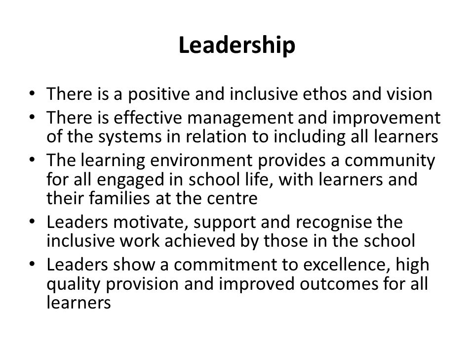 Leadership There is a positive and inclusive ethos and vision There is effective management and improvement of the systems in relation to including al