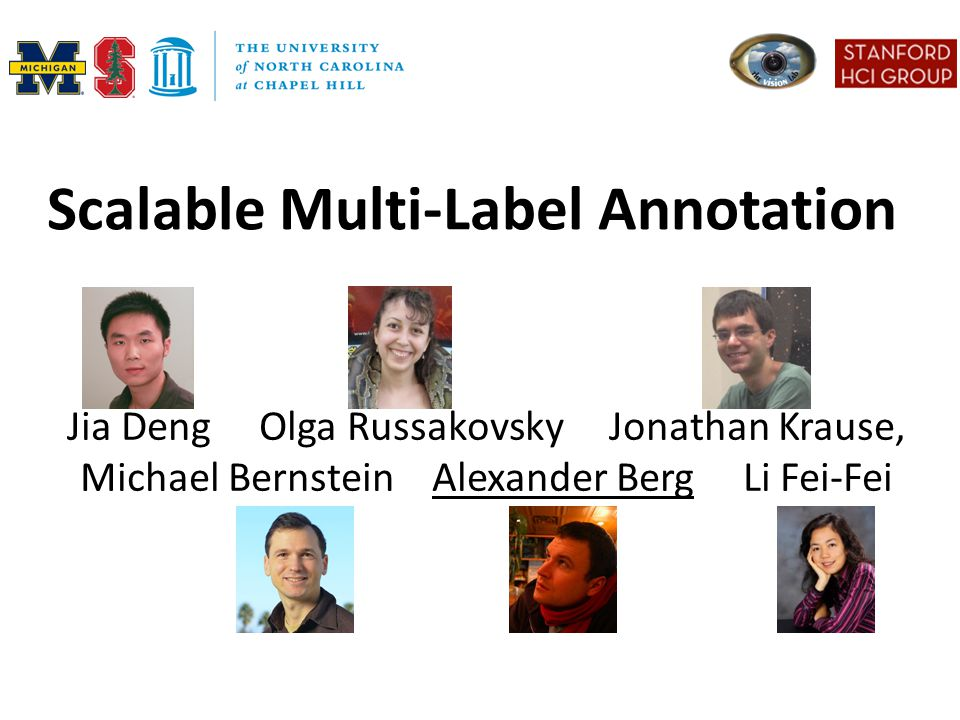 Scalable Multi-Label Annotation Jia Deng Olga Russakovsky Jonathan Krause, Michael Bernstein Alexander Berg Li Fei-Fei