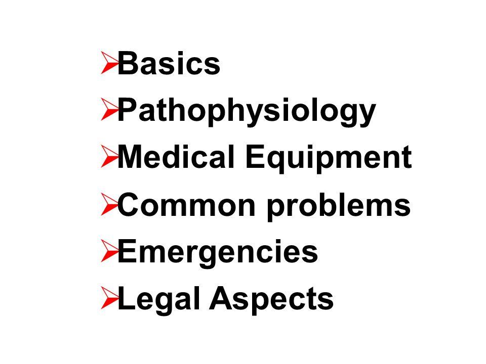  Basics  Pathophysiology  Medical Equipment  Common problems  Emergencies  Legal Aspects