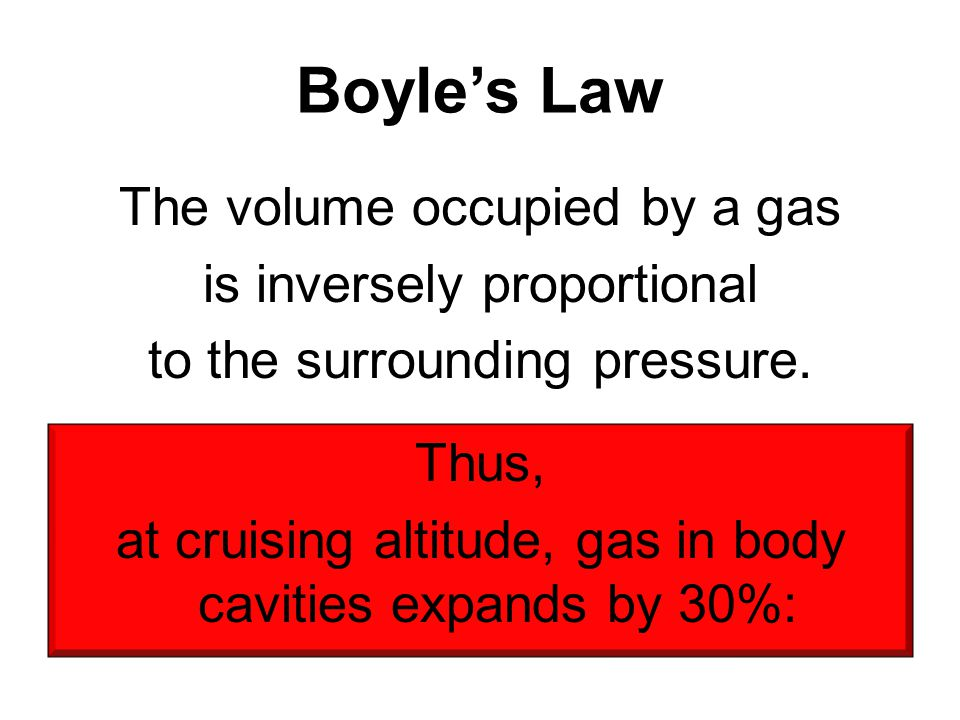 Boyle's Law The volume occupied by a gas is inversely proportional to the surrounding pressure. Thus, at cruising altitude, gas in body cavities expan