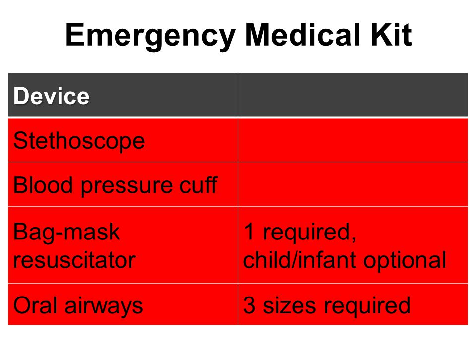 Emergency Medical Kit Device Stethoscope Blood pressure cuff Bag-mask resuscitator 1 required, child/infant optional Oral airways3 sizes required