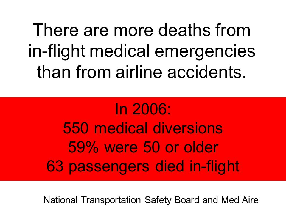 Silverman D, Gendeau M: Medical issues associated with commercial flights.