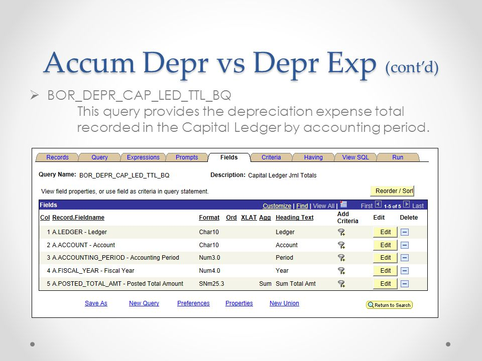 Accum Depr vs Depr Exp (cont'd)  BOR_DEPR_CAP_LED_TTL_BQ This query provides the depreciation expense total recorded in the Capital Ledger by accounting period.
