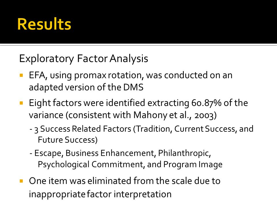 Exploratory Factor Analysis  EFA, using promax rotation, was conducted on an adapted version of the DMS  Eight factors were identified extracting 60.87% of the variance (consistent with Mahony et al., 2003) - 3 Success Related Factors (Tradition, Current Success, and Future Success) - Escape, Business Enhancement, Philanthropic, Psychological Commitment, and Program Image  One item was eliminated from the scale due to inappropriate factor interpretation