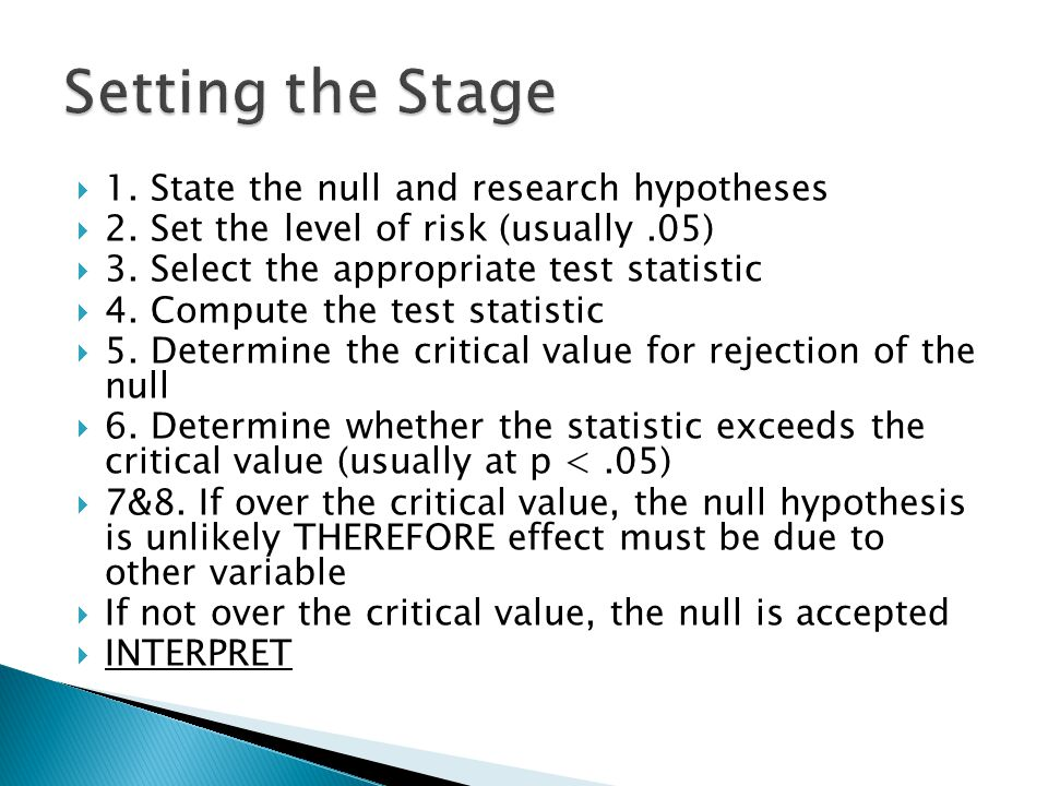  1. State the null and research hypotheses  2. Set the level of risk (usually.05)  3.