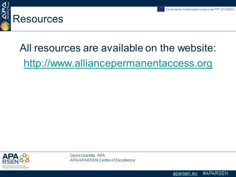 David Giaretta, APA APA/APARSEN Centre of Excellence Co-funded by the European Union under FP7-ICT-2009-6 aparsen.eu #APARSEN Resources All resources