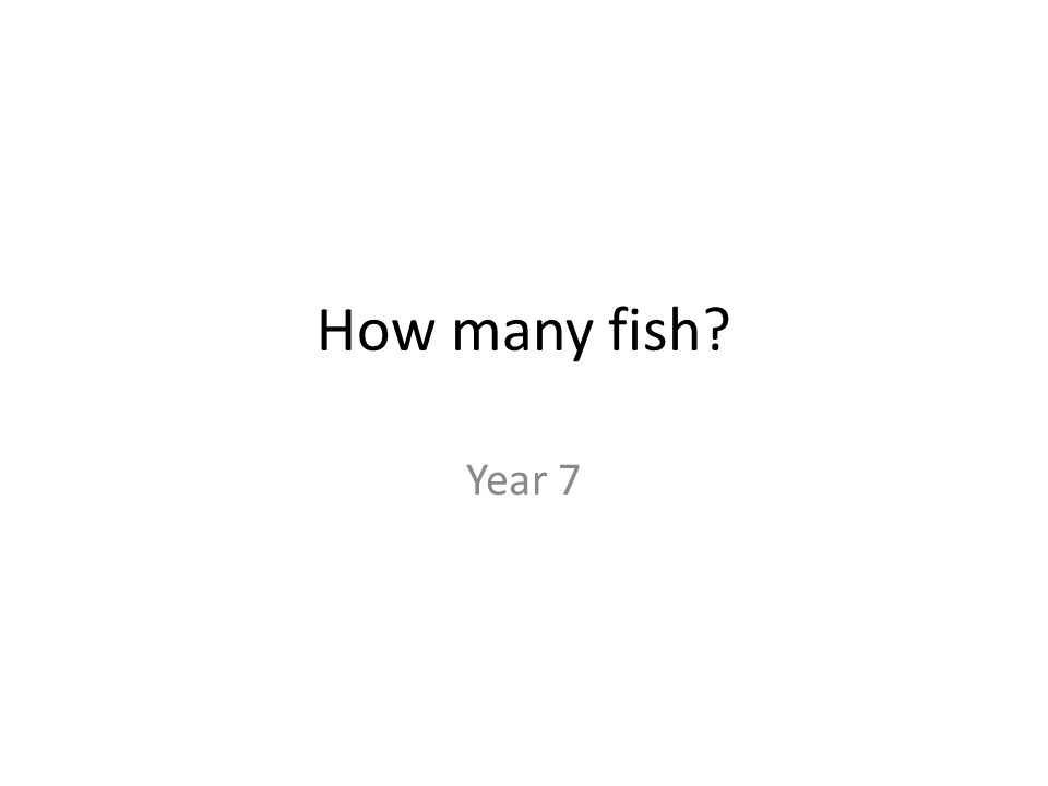 How many fish? Year 7