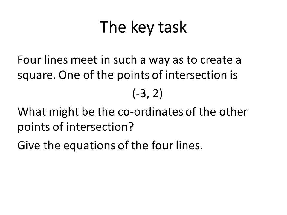 The key task Four lines meet in such a way as to create a square.
