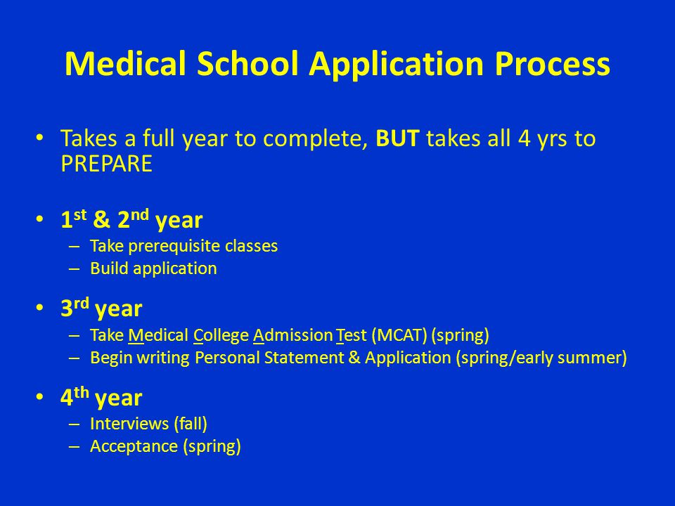 Medical School Application Process Takes a full year to complete, BUT takes all 4 yrs to PREPARE 1 st & 2 nd year – Take prerequisite classes – Build