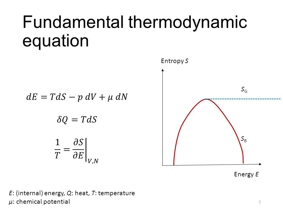 Fundamental thermodynamic equation Entropy S Energy E 7 SGSG SBSB E: (internal) energy, Q: heat, T: temperature μ: chemical potential
