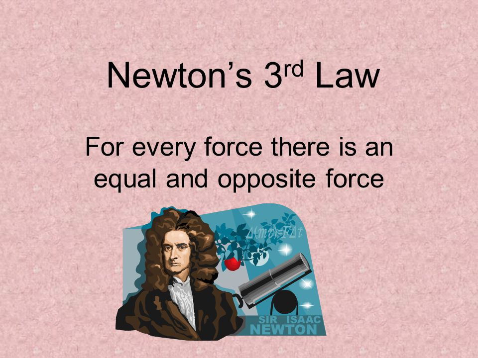 Newton's 3 rd Law For every force there is an equal and opposite force