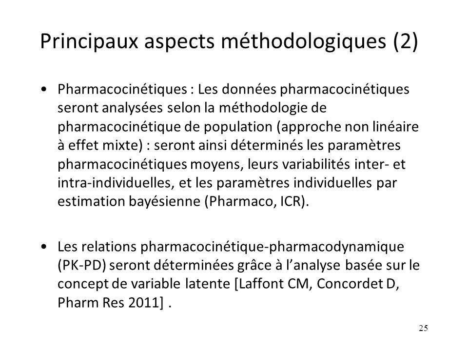 Principaux aspects méthodologiques (2) Pharmacocinétiques : Les données pharmacocinétiques seront analysées selon la méthodologie de pharmacocinétique de population (approche non linéaire à effet mixte) : seront ainsi déterminés les paramètres pharmacocinétiques moyens, leurs variabilités inter- et intra-individuelles, et les paramètres individuelles par estimation bayésienne (Pharmaco, ICR).
