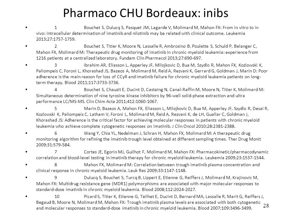 Pharmaco CHU Bordeaux: inibs 1 Bouchet S, Dulucq S, Pasquet JM, Lagarde V, Molimard M, Mahon FX: From in vitro to in vivo: intracellular determination