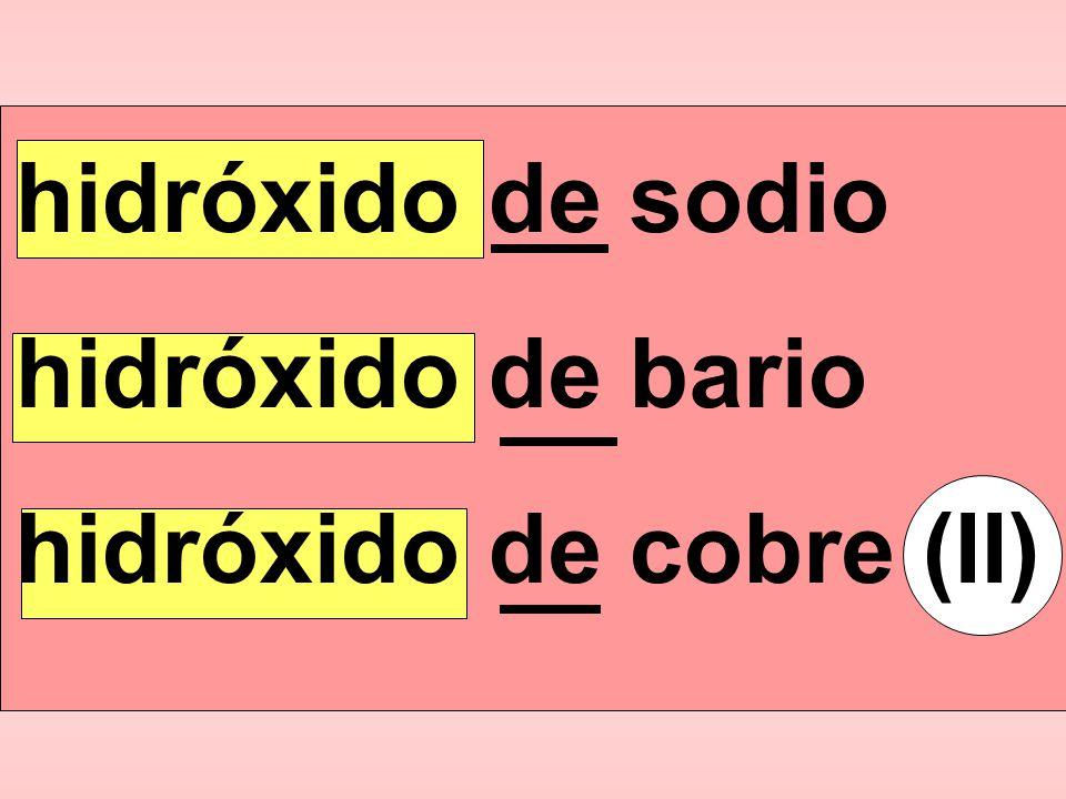 Para nombrar los hidróxidos metálicos: hidróxido preposiciónde nombre del metal ( )
